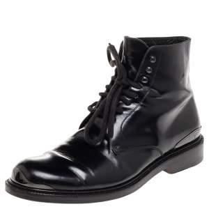 Louis Vuitton Black Leather Combat Boots Size 41