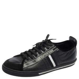 Louis Vuitton Black Leather and Suede Cosmos Low Top Sneakers Size 41