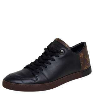 Louis Vuitton Black Leather And Monogram Canvas Line Up Low Top Sneakers Size 41