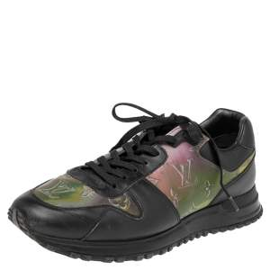 Louis Vuitton Black/Iridescent Monogram Textile and Leather Run Away Sneakers Size 40