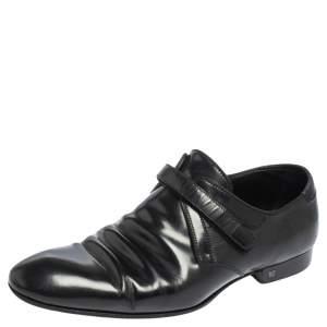 Louis Vuitton Black Glossy Leather Velcro Strap Dress Shoes Size 40.5