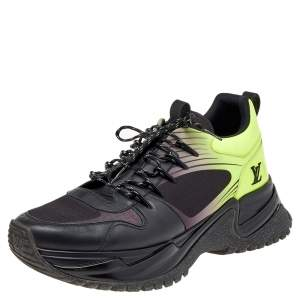 Louis Vuitton Black/Green Leather and Mesh Run Away Pulse Sneakers Size 42.5