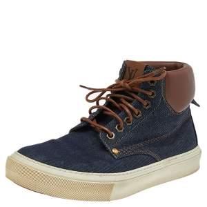 حذاء رياضي لوي فيتون جلد ودنيم بني/أزرق مرتفع من أعلى مقاس 41