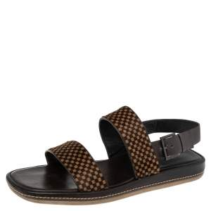 Louis Vuitton Black Damier Sauvage Calfhair And Leather Slingback Size 44.5