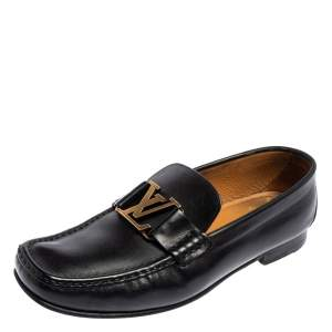 Louis Vuitton Black Leather Montaigne Loafers Size 40.5