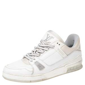 Louis Vuitton White Leather And Stretch Fabric LV Trainer Sneakers Size 43
