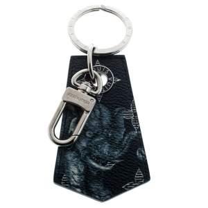 حافظة مفاتيح / ميدالية مفاتيح لوي فيتون الأخوان شابمان فضية اللون وكانفاس منقوش زرقاء