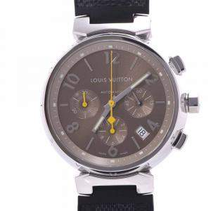Louis Vuitton Brown Stainless Steel Tambour Chrono Q11220 Automatic Men's Wristwatch 39 MM