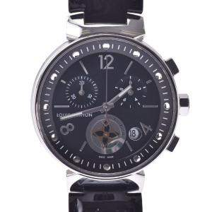Louis Vuitton Black Stainless Steel Tambour Moon Star Q8G01Z Men's Wristwatch 34 MM