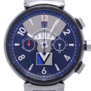 Louis Vuitton Blue Stainless Steel Tambour Regatta Chronograph DH46488 Men's Wristwatch 43 MM