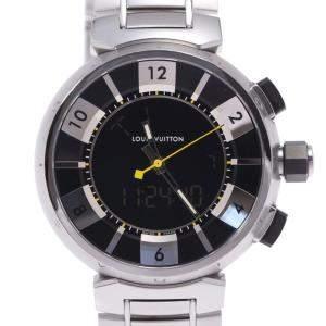 Louis Vuitton Black Stainless Steel Tambour Q118F Men's Wristwatch 41.5 MM