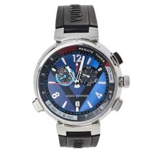 ساعة يد رجالية لوي فيتون تامبور ريغاتا كيو102دي ستانلس ستيل زرقاء 44 مم