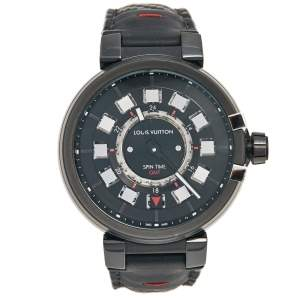 Louis Vuitton Black PVD Plated Stainless Steel Alligator Tambour Spin GMT Q10C3 Men's Wristwatch 44 mm