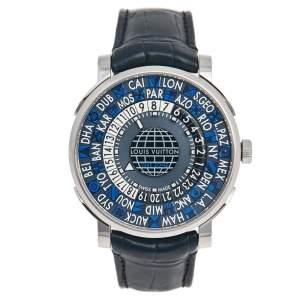 Louis Vuitton Blue Stainless Steel Alligator Escale Timezone Q5D22 Men's Wristwatch 41 mm