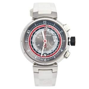 ساعة يد رجالية لوي فيتون تامبور فوياجيز II Q102C ستانلس ستيل ومطاط رصاصية 44 مم