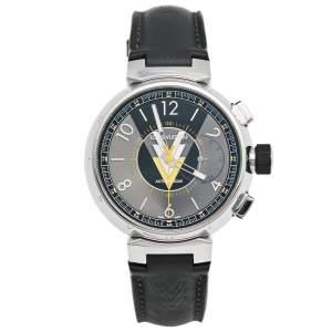 ساعة يد رجالية لوي فيتون تامبور  VVV كرونوغراف Q1A60 ستانلس ستيل وجلد رصاصي 44 مم