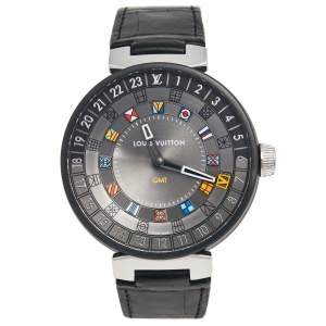 Louis Vuitton Grey PVD Coated Stainless Steel Alligator Moon Dual Time QA097 Men's Wristwatch 44 mm