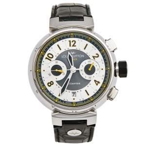 ساعة يد رجالية لوي فيتون تامبور فلاي باك جلد تمساح ستانلس ستيل فضية 44 مم