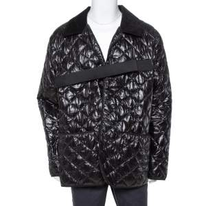 Maison Martin Margiela Black Synthetic Quilted Belted Oversized Jacket M