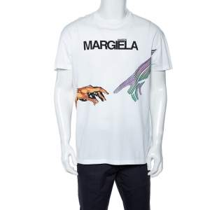 Maison Martin Margiela White Logo Print Cotton Oversized Crew neck T-Shirt M