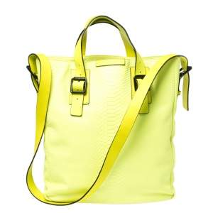 Marc By Marc Jacobs Neon Lime Python Embossed Leather Buckle Shopper Tote