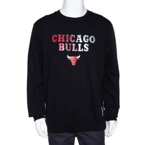 Marcelo Burlon X NBA Black Chicago Bulls Print Cotton Sweatshirt L