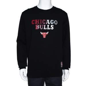 Marcelo Burlon X NBA Black Chicago Bulls Print Cotton Sweatshirt M