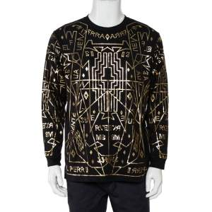 Marcelo Burlon X Harvey Nichols Black Cotton Metallic Printed Long Sleeve T-Shirt S