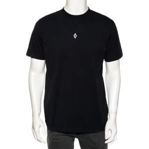 Marcelo Burlon Black Cotton Back Wings Printed Crew Neck T-Shirt M