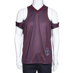 Martine Rose Burgundy Striped Jersey Cut-out Football Vest M