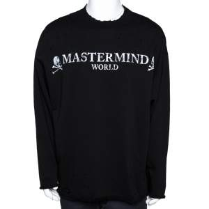 Mastermind World Black Logo Print Cotton Distressed Sweatshirt M