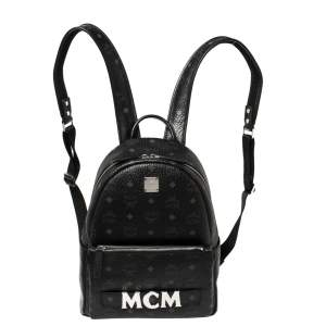 MCM Black Visetos Coated Canvas Trilogie Stark Backpack