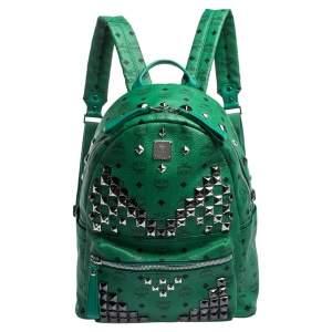 حقيبة ظهر أم سي أم ستارك ترصيعات كبيرة جلد وكانفاس مقوى خضراء