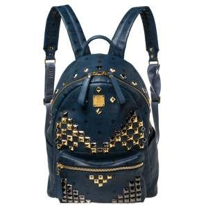 MCM Blue Coated Canvas and Leather Large Studs Stark Backpack