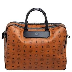 MCM Black/Cognac Visetos Coated Canvas and Leather Briefcase