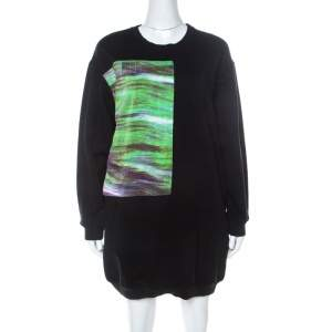 McQ by Alexander McQueen Black Abstract Print Cotton Sweatshirt Dress L