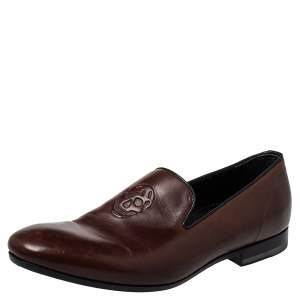 Alexander McQueen Brown Leather Skull Detail Loafers Size 41
