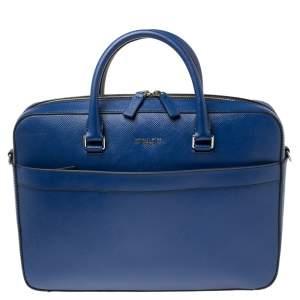 Michael Kors Sapphire Blue Leather Harrison Front Zip Briefcase