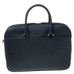 Michael Kors Navy Blue Leather Cooper Double Zip Casual Briefcase