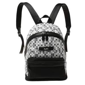 Michael Kors Black/White Nylon and Leather Kent Backpack