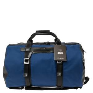 Michael Kors Sapphire Blue Nylon and Leather Kent Sport Convertible Backpack to Duffle Bag