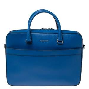 Michael Kors Atlantic Blue Leather Harrson Briefcase