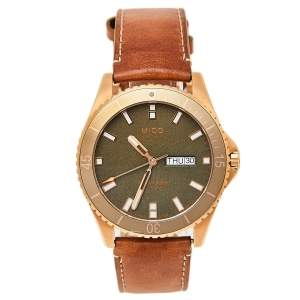 Mido Green Rose Gold PVD Stainless Steel Leather Ocean Star M026.430.36.091.00 Men's Wristwatch 42.5 mm