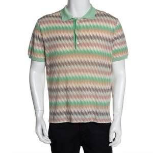 Misson Pastel Chevron Pointelle Knit Polo T-Shirt XXL