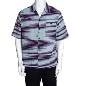 Missoni Limited Edition Multicolor Striped Knit Camp Collar Shirt S