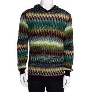 Missoni Multicolor Cotton & Wool Blend Hooded Sweater L