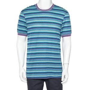 Missoni Blue Chevron Patterned Cotton Knit Roundneck T-Shirt XL