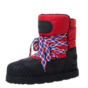 Moncler Uranus Red/Black Leather and Nylon Moon Boots Size 43