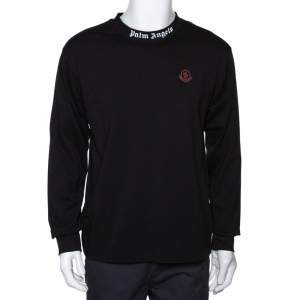 Moncler X Palm Angels Black Cotton Maglia Long Sleeve  T Shirt L