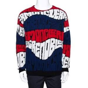 Moncler Grenoble Blue Logo Wool Cashmere Knit Jumper L